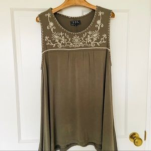 POL Olive Green Embroidered Tank